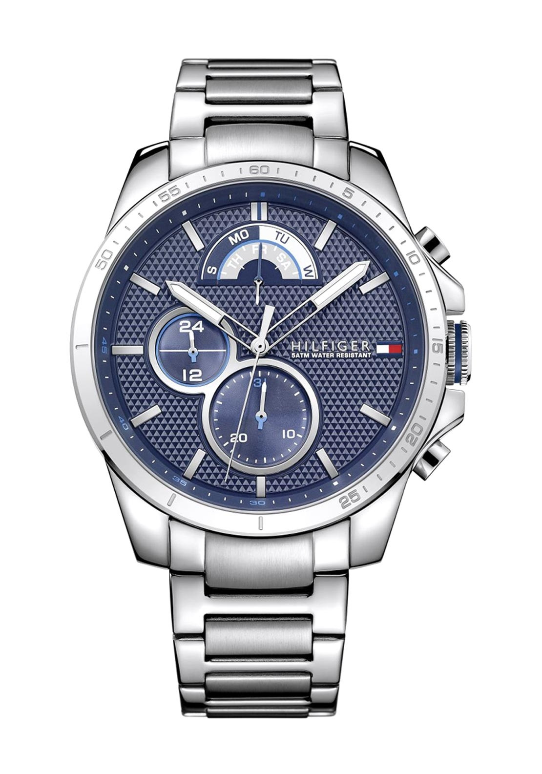 7db73e47e Tommy Hilfiger Mens Dark Blue Dial Stainless Steel Watch, Silver ...