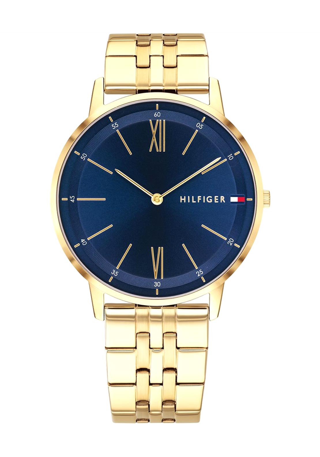 97cb7ed3 Tommy Hilfiger Mens Stainless Steel Watch, Gold & Dark Blue Dial ...