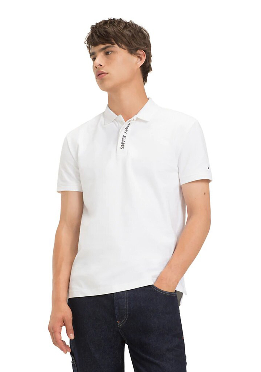 b49bfff9 Tommy Jeans Men's Placket Polo, White. Be the first to review this product