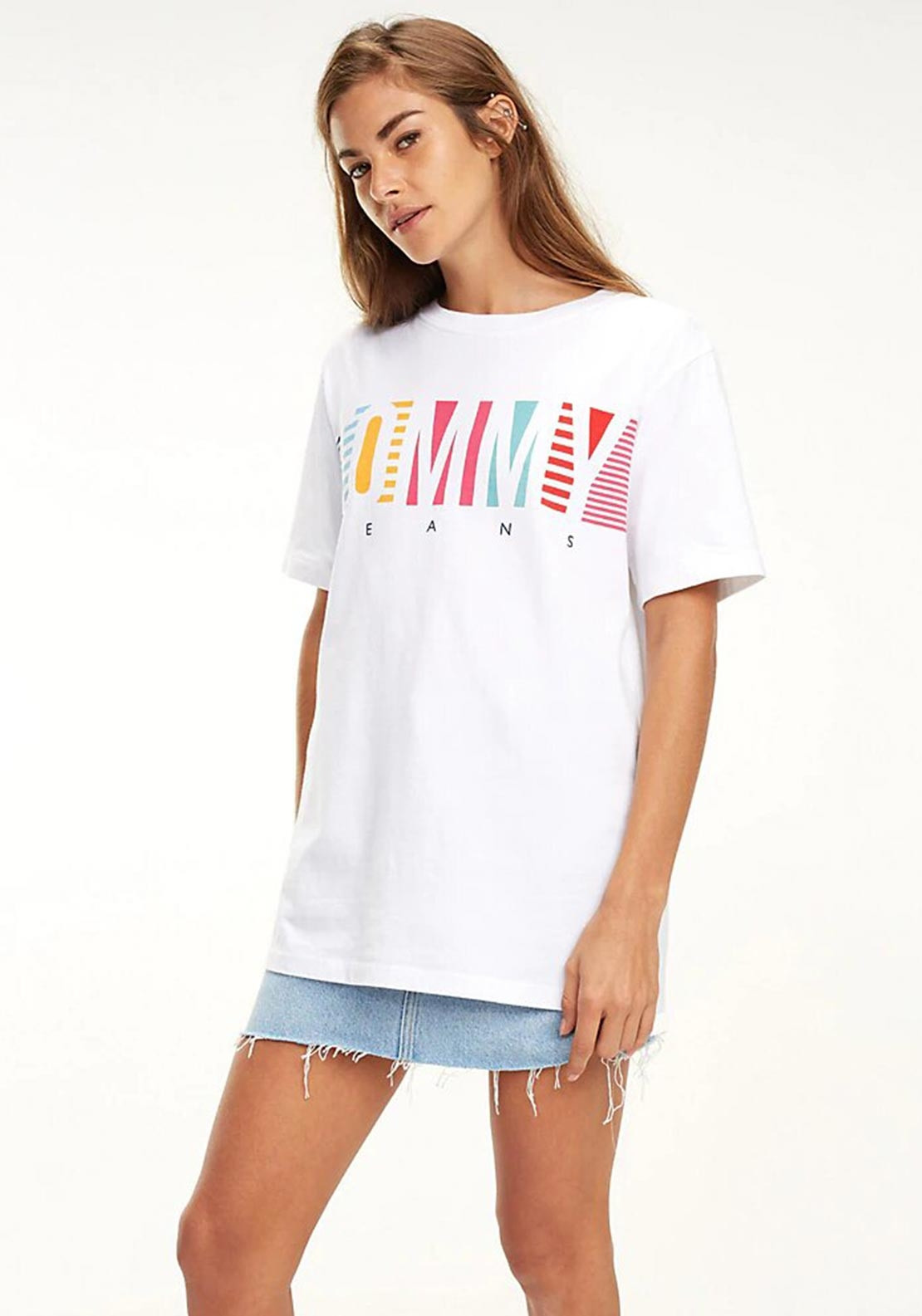 b3826a2ce Tommy Jeans Womens Colour Block Logo T-Shirt, White. Be the first to review  this product