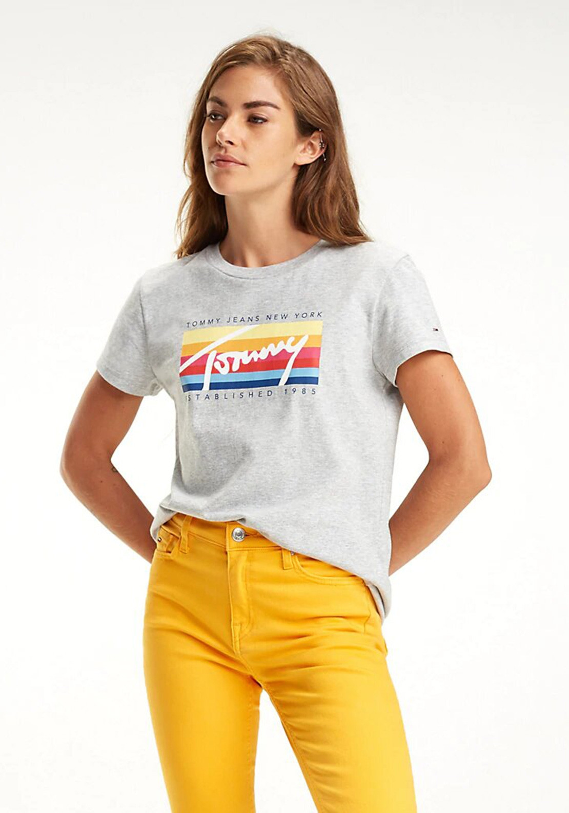 bcd1697bc Tommy Jeans Womens Colour Block Logo T-Shirt, Grey. Be the first to review  this product