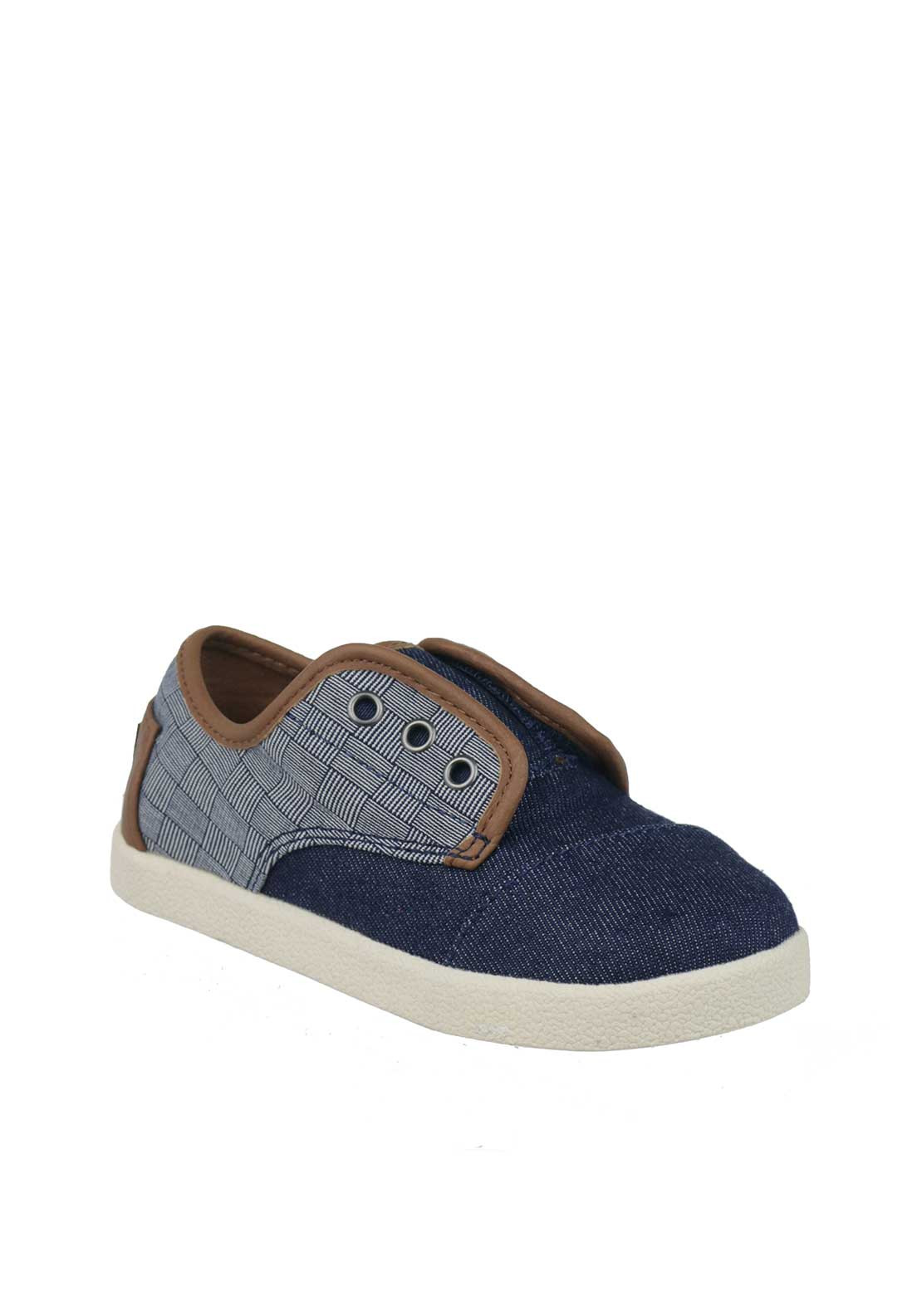 TOMS Baby Boys Velcro Denim Trainers, Blue