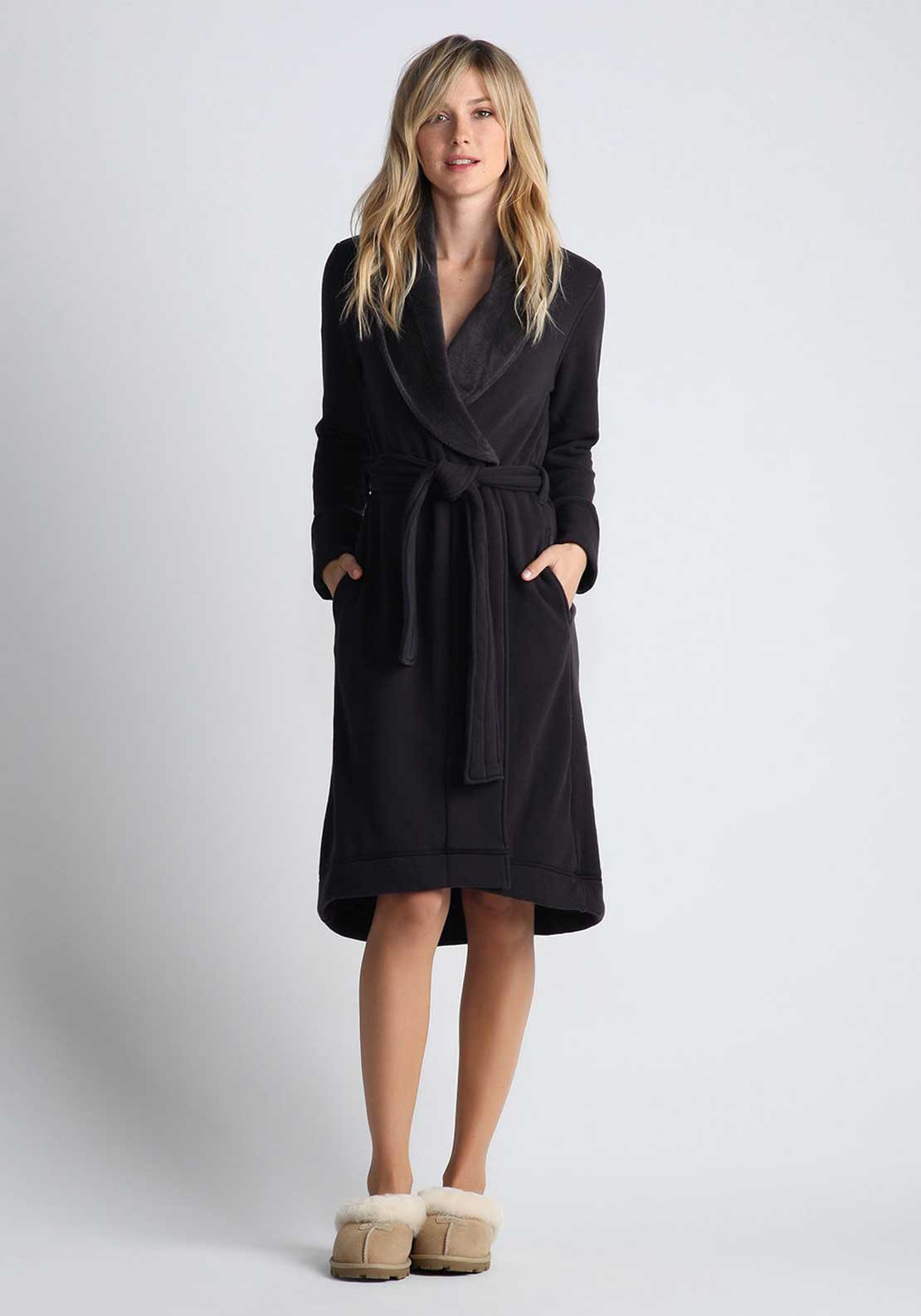 UGG Australia Womens Duffield Dressing Gown, Charcoal