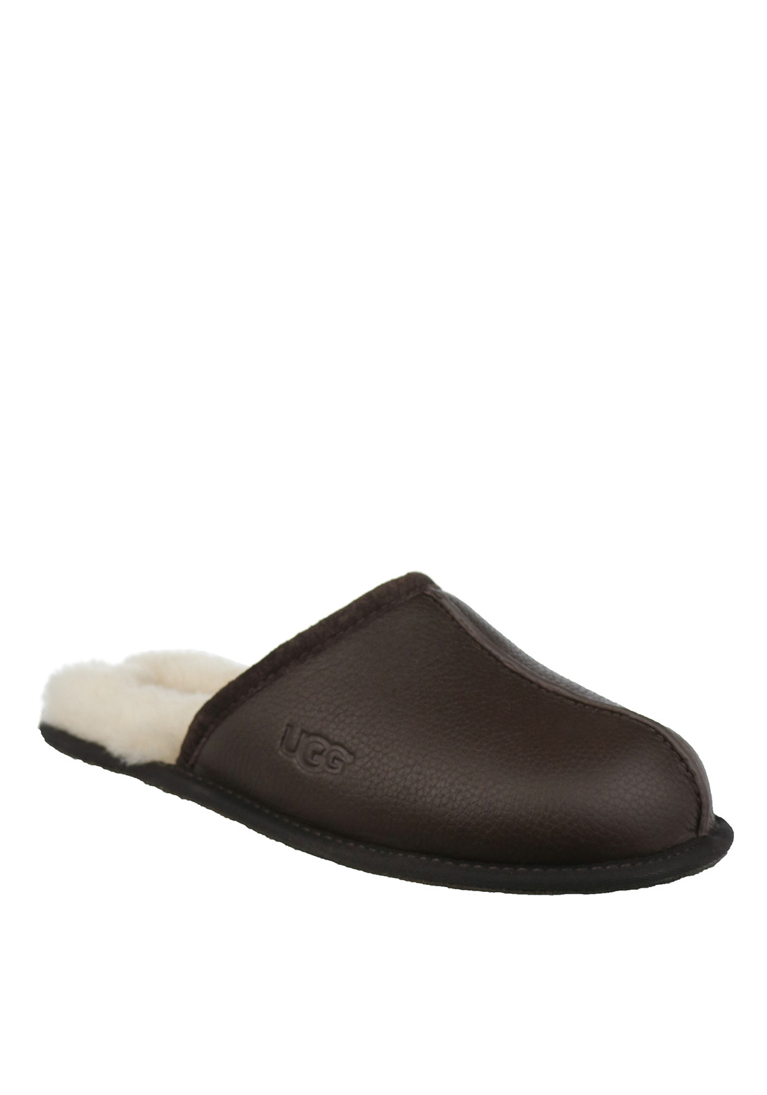 Ugg Australia Mens Scuff Leather Slippers, Stout Brown