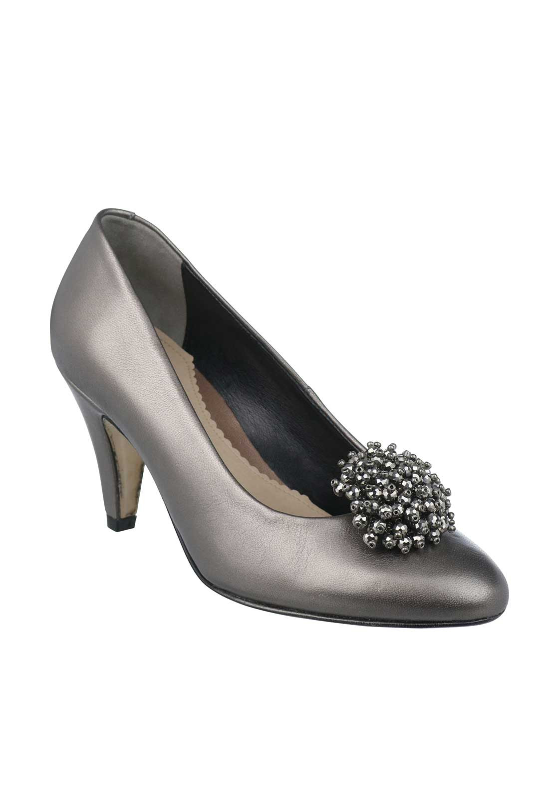 Van Dal Magdalen Leather Embellished Court Shoes, Pewter