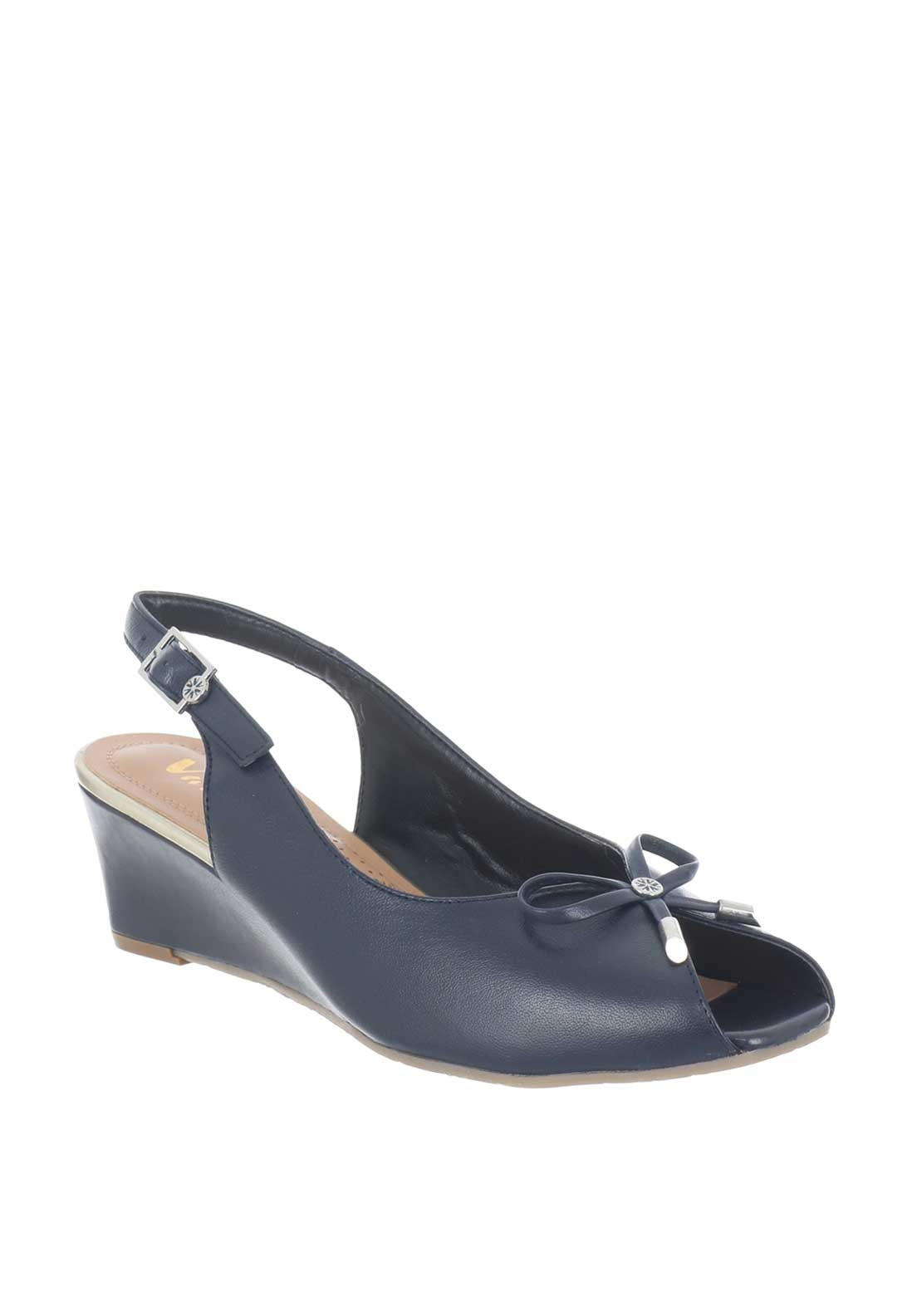 8f56f75a59deb Van Dal Oxley Leather Sling Back Wedged Sandals, Navy | McElhinneys