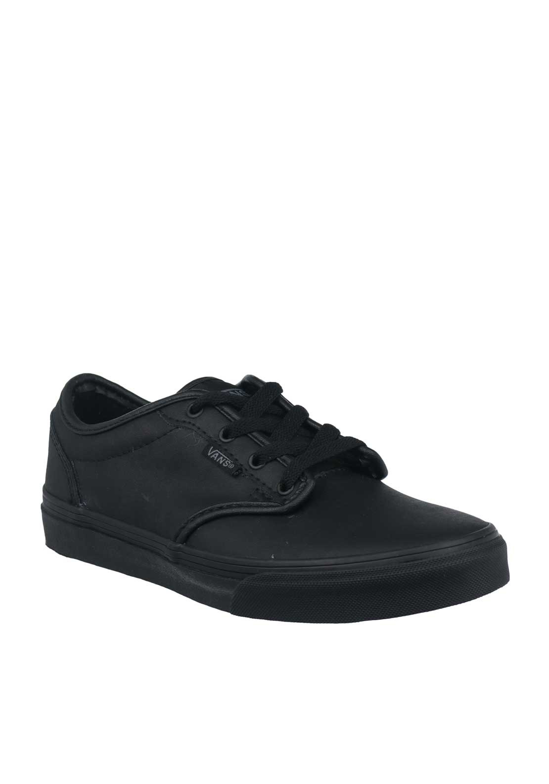 Vans Kids Leather Laced School Shoes, Black