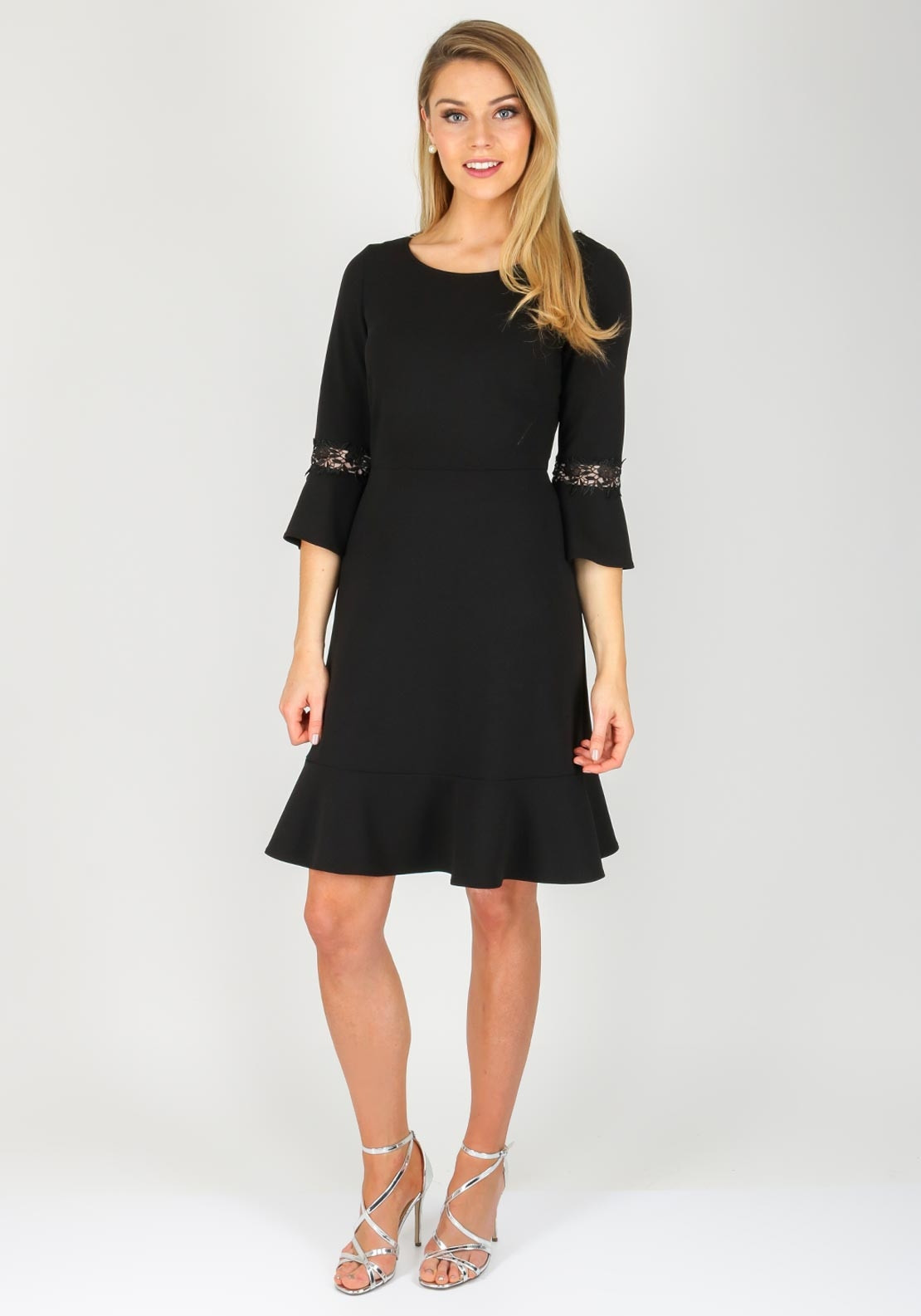 Vera Mont Lace Trim Bell Sleeve Dress Black