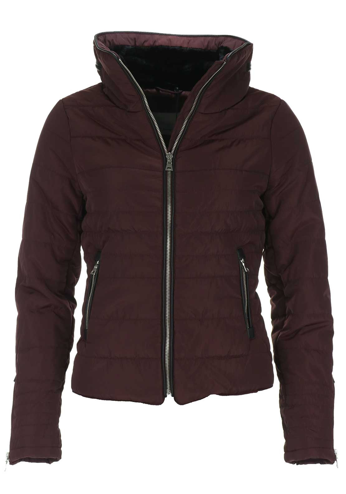 Vero Moda Lulu High Collar Quilted Jacket, Wine