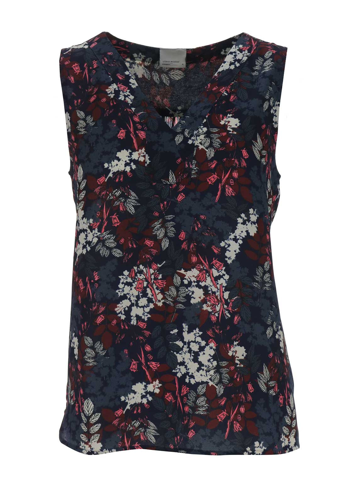 Vero Moda Forrest Leaf V Neck Top, Navy