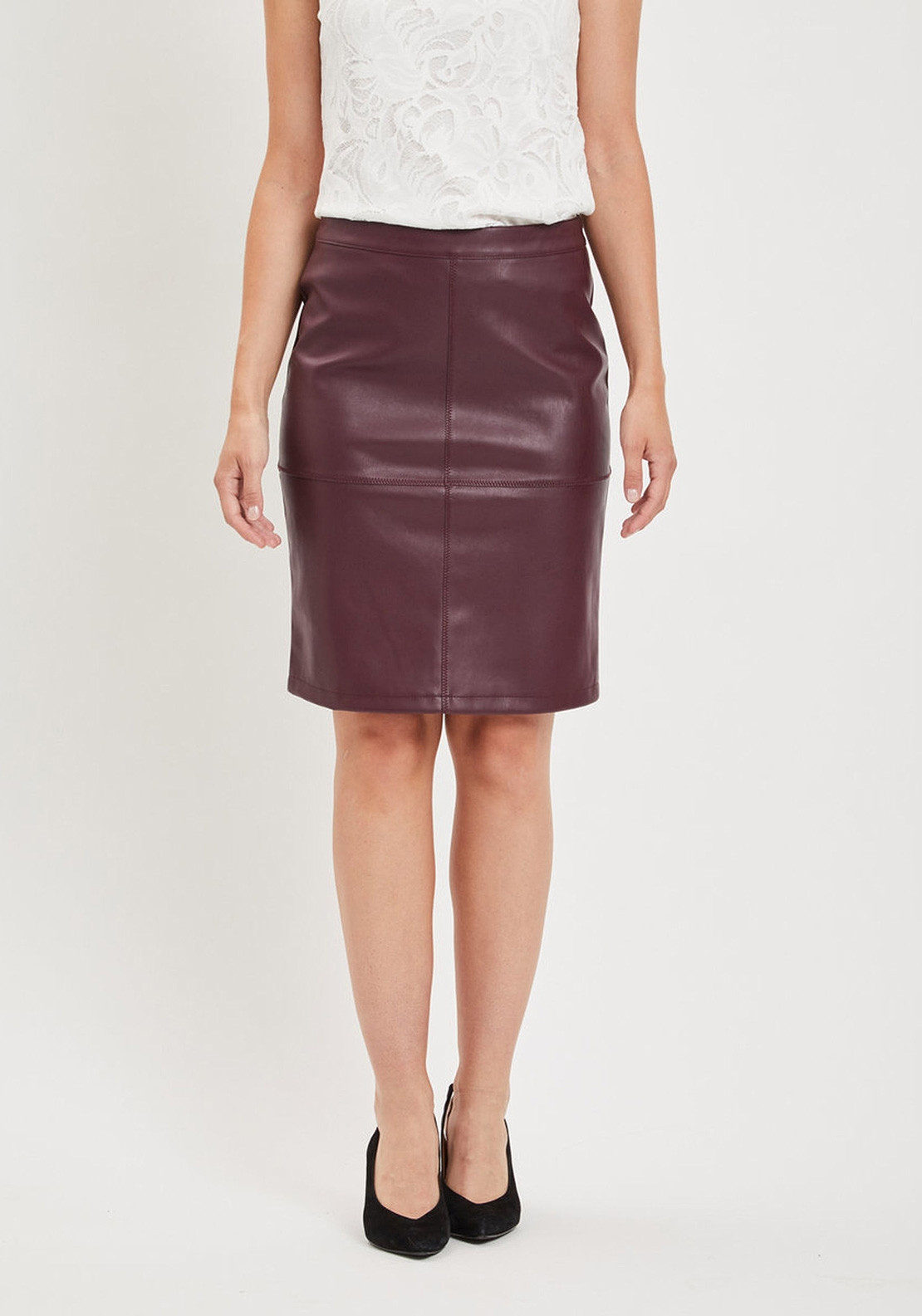 exclusive shoes beautiful style incredible prices Vila Pen New Faux Leather Pencil Skirt, Wine