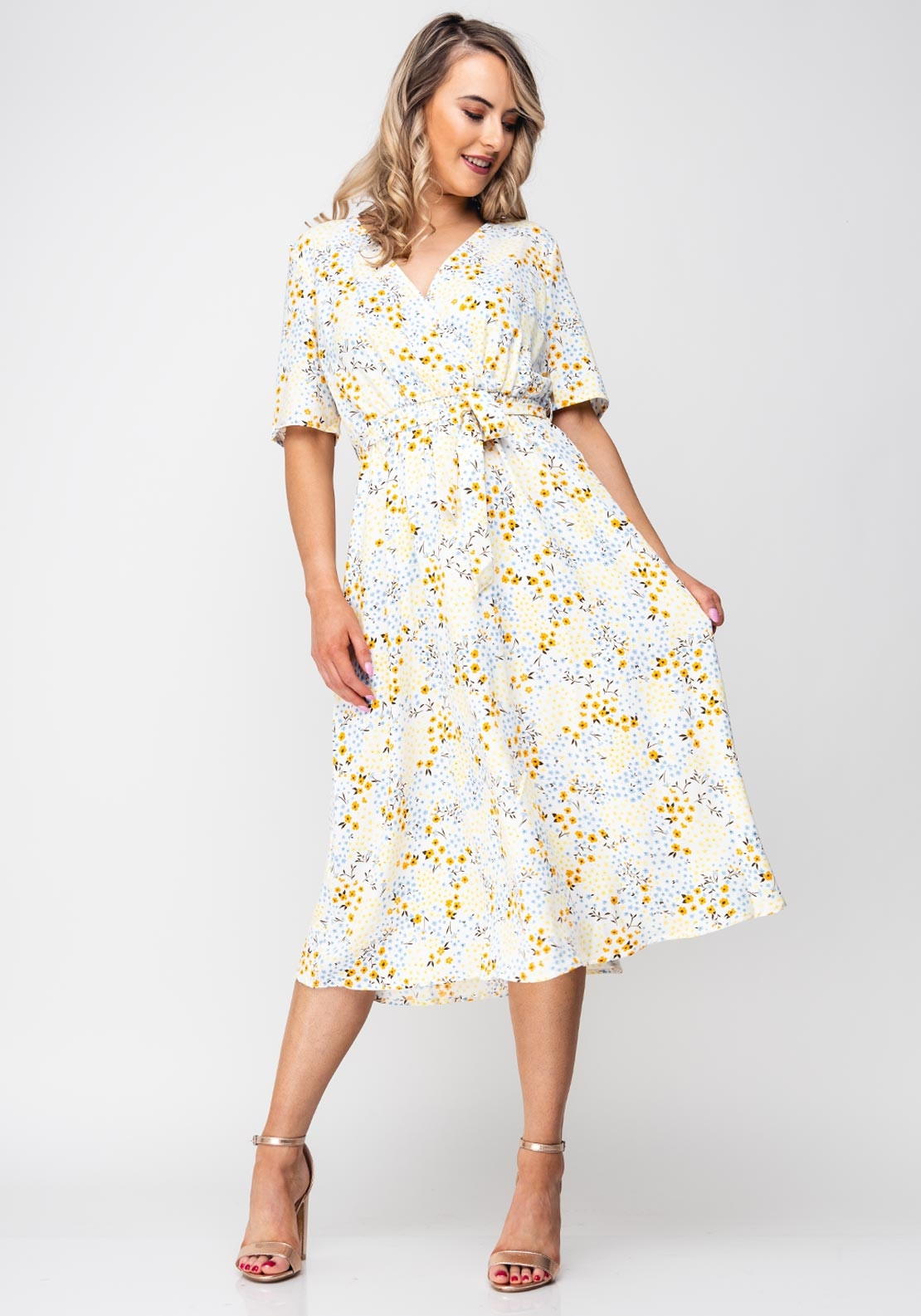 56cf64a70 Vilaia Primrose Floral Wrap Midi Dress, White. Be the first to review this  product