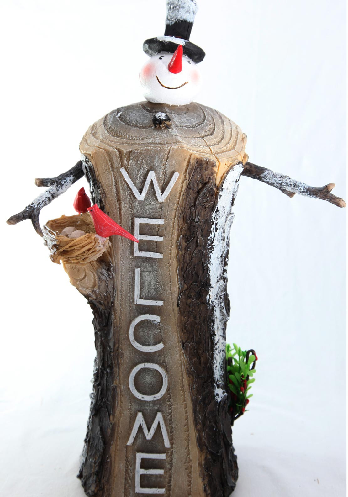 Verano Christmas Welcome Small Snowman Wooden Ornament