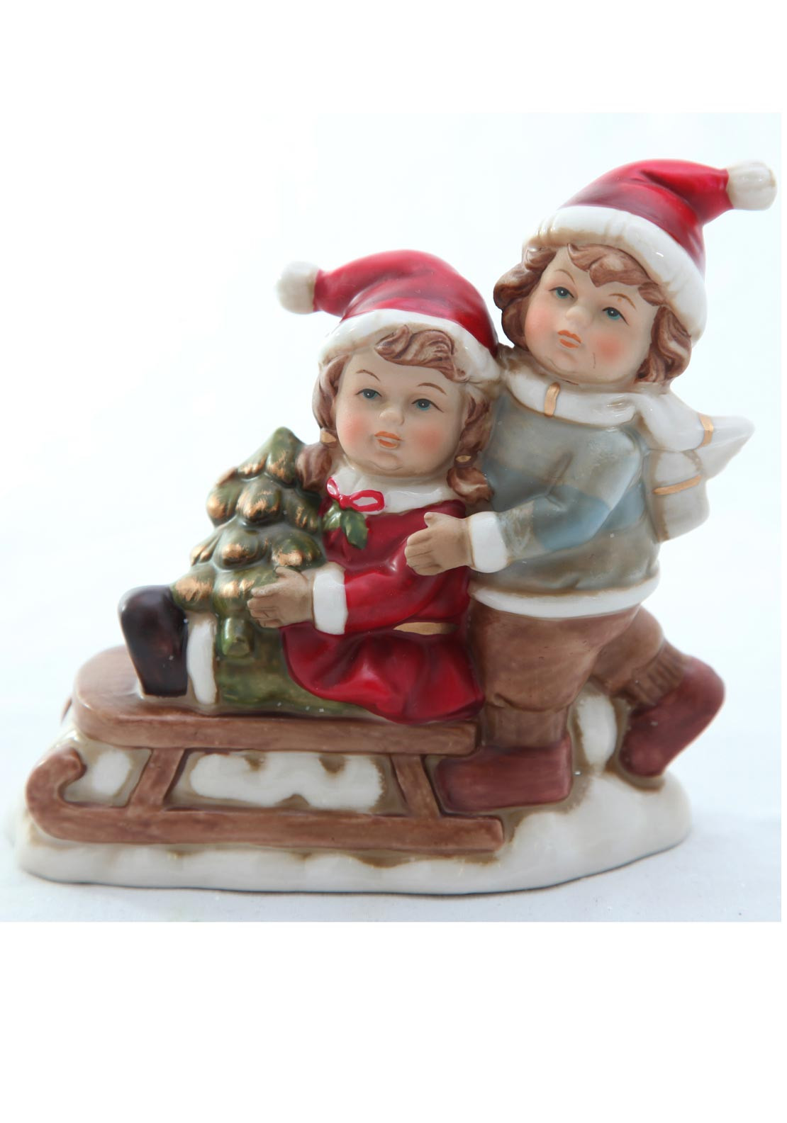 Verano Christmas Children and Sleigh Ornament