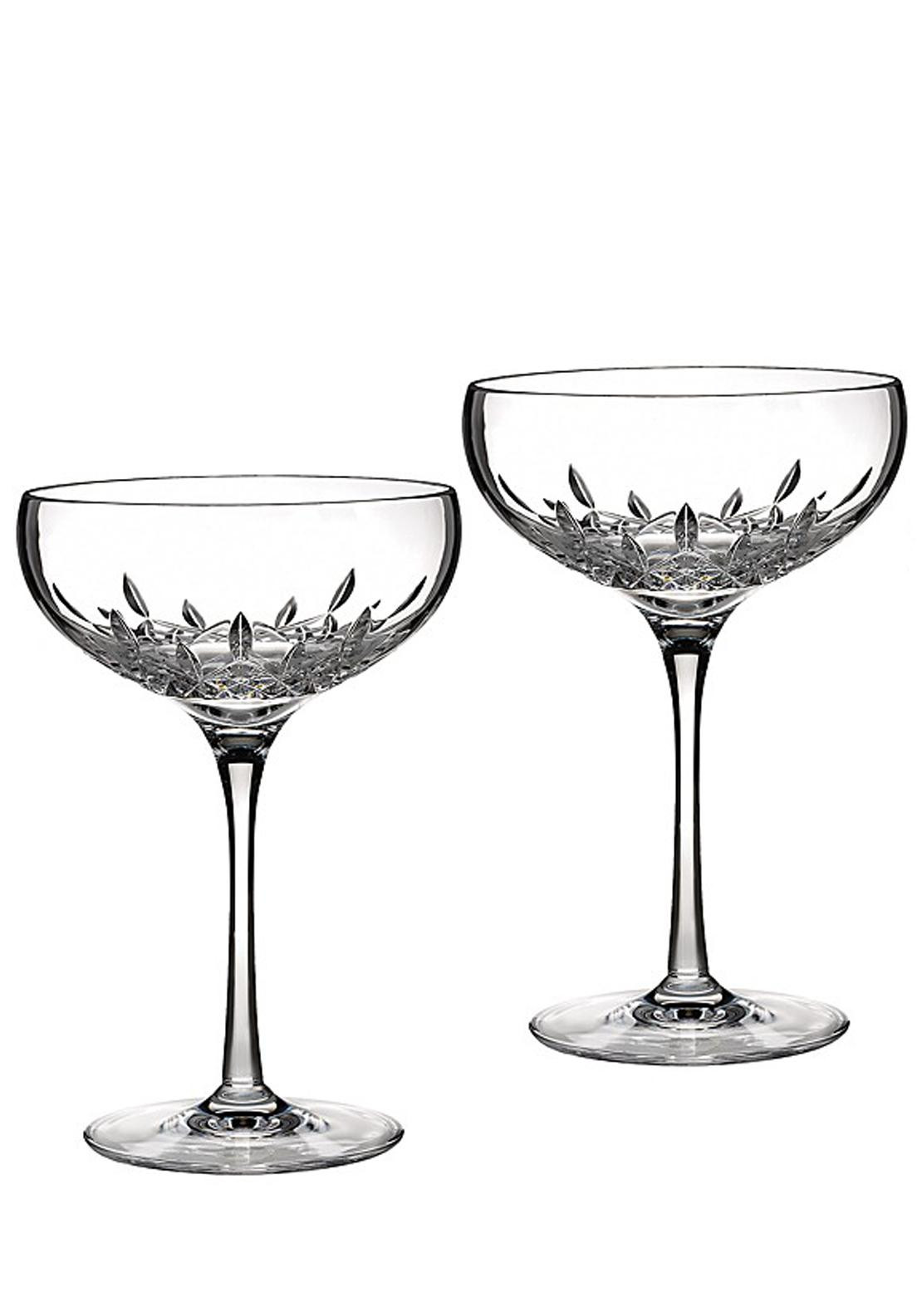 Waterford Crystal Lismore Essence Anniversary Champagne Saucer, Pair