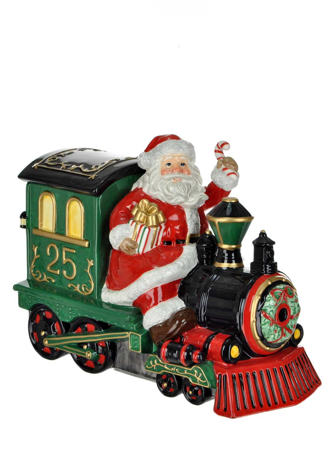 Waterford Crystal Heirloom Cookie Jar Santa on a Train Ornament