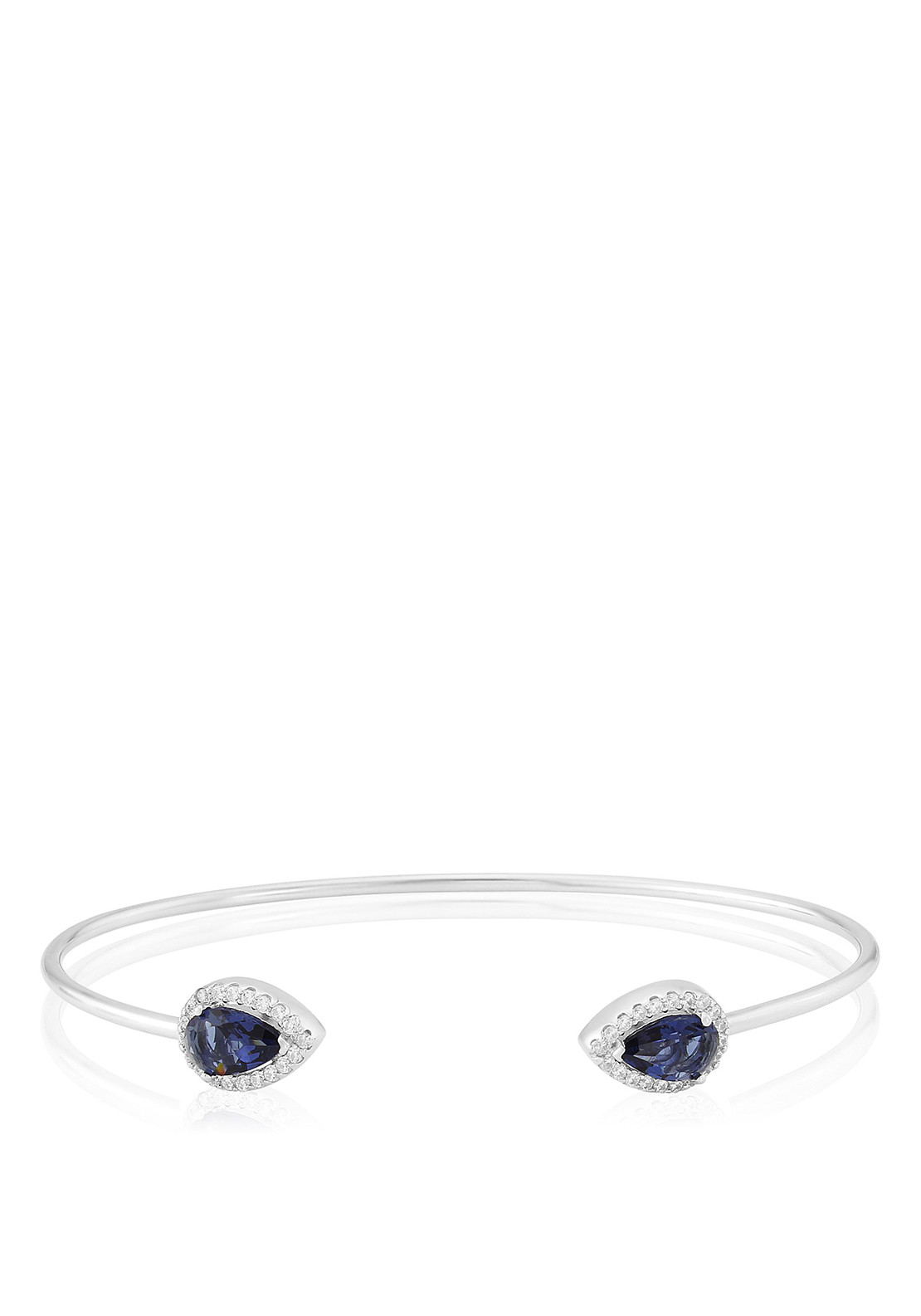 Waterford Crystal Faux Sapphire and Pave Bangle, Silver