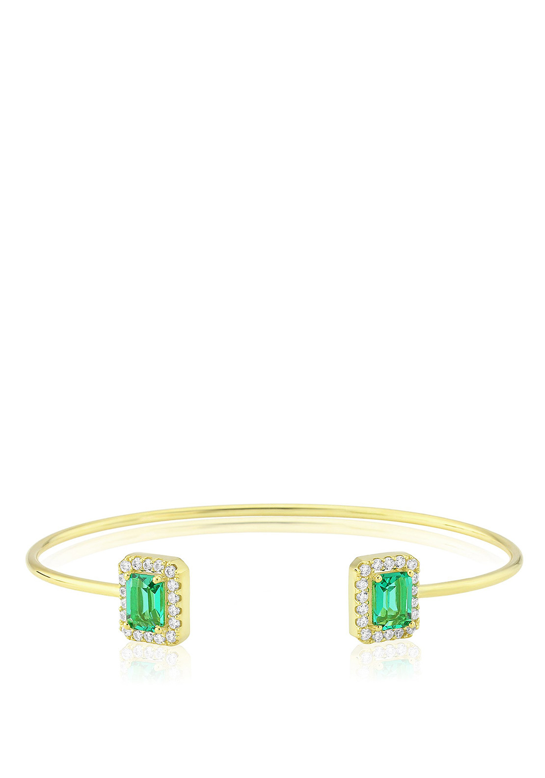 Waterford Crystal Square Faux Emerald and Pave Bangle, Gold
