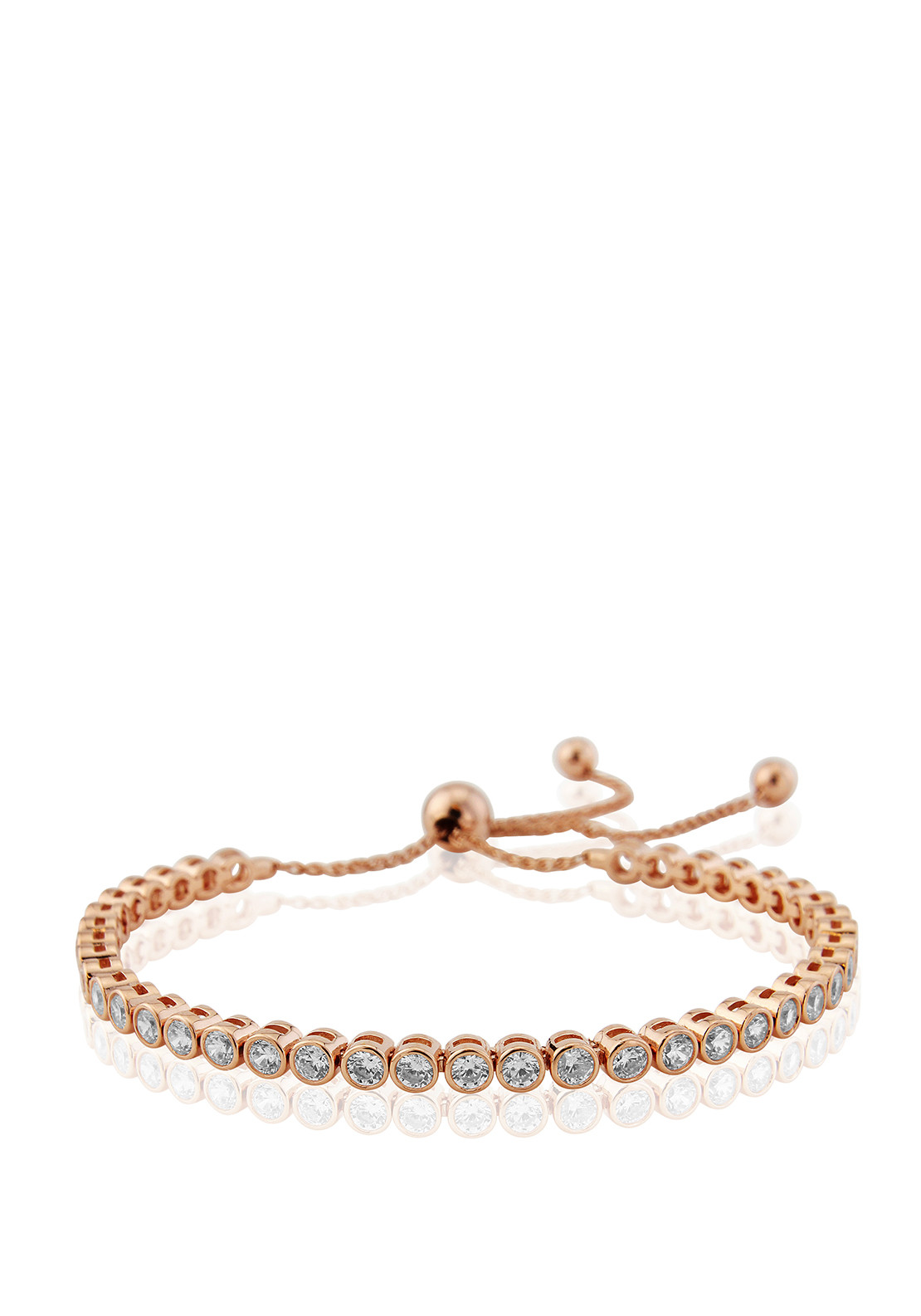 Waterford Crystal Pave Studded Beaded Toggle Bracelet, Rose Gold