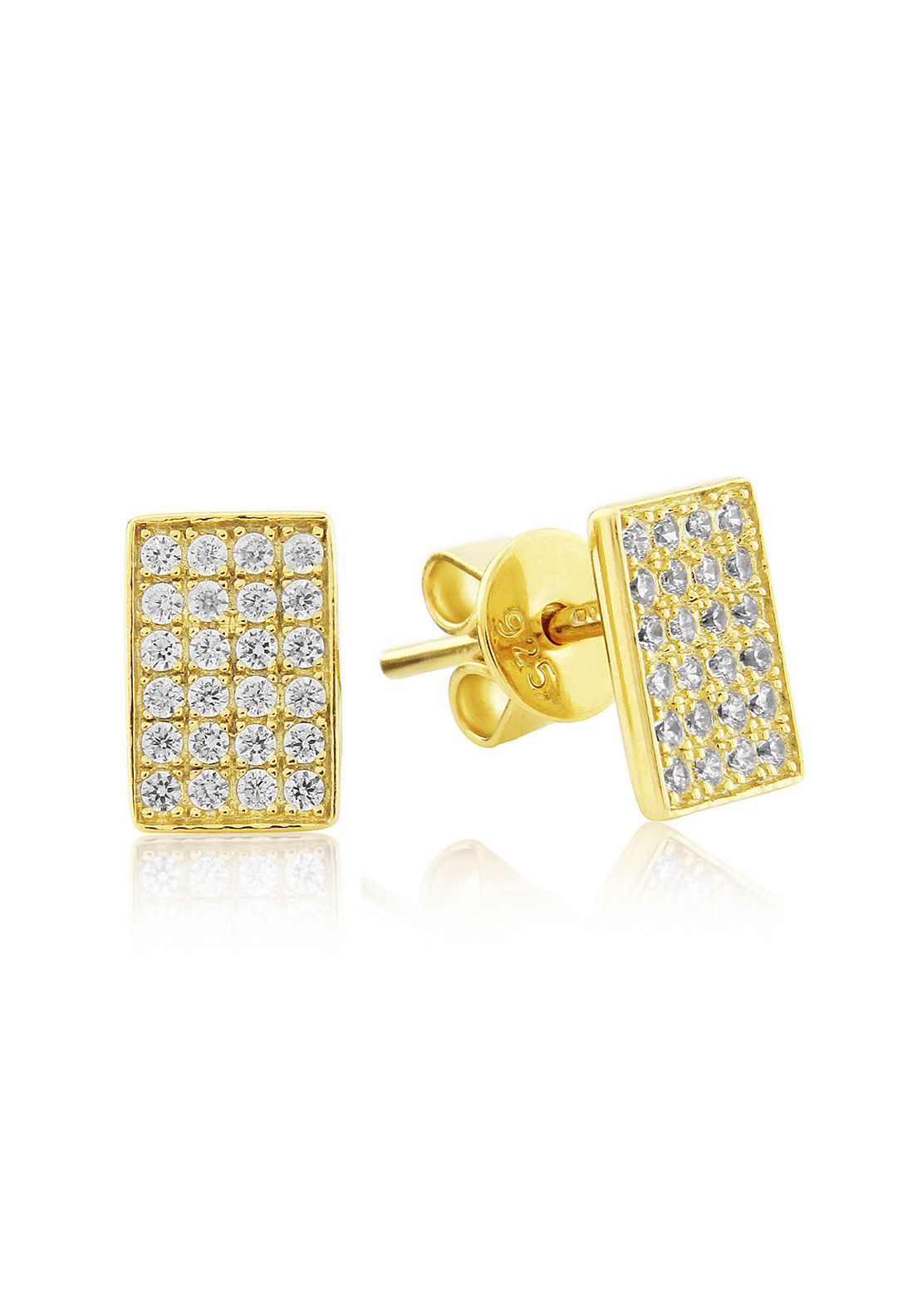 Waterford Crystal Pave Rectangular Stud Earrings, Gold