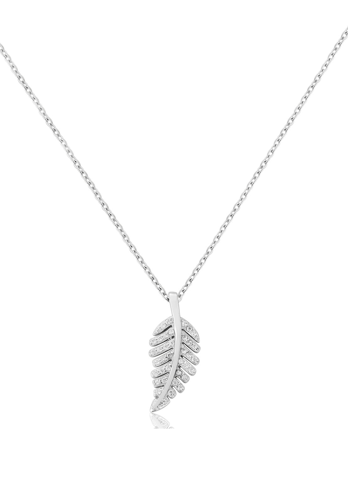 Waterford Crystal Pave Studded Feather Pendant Necklace, Silver