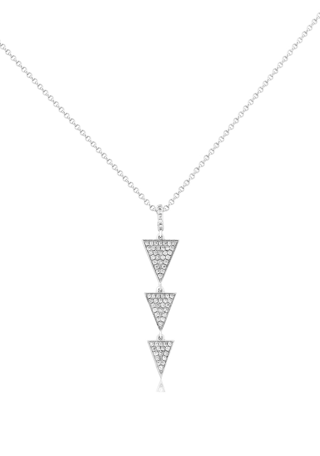 Waterford Crystal Triangular Pendant Necklace, Silver
