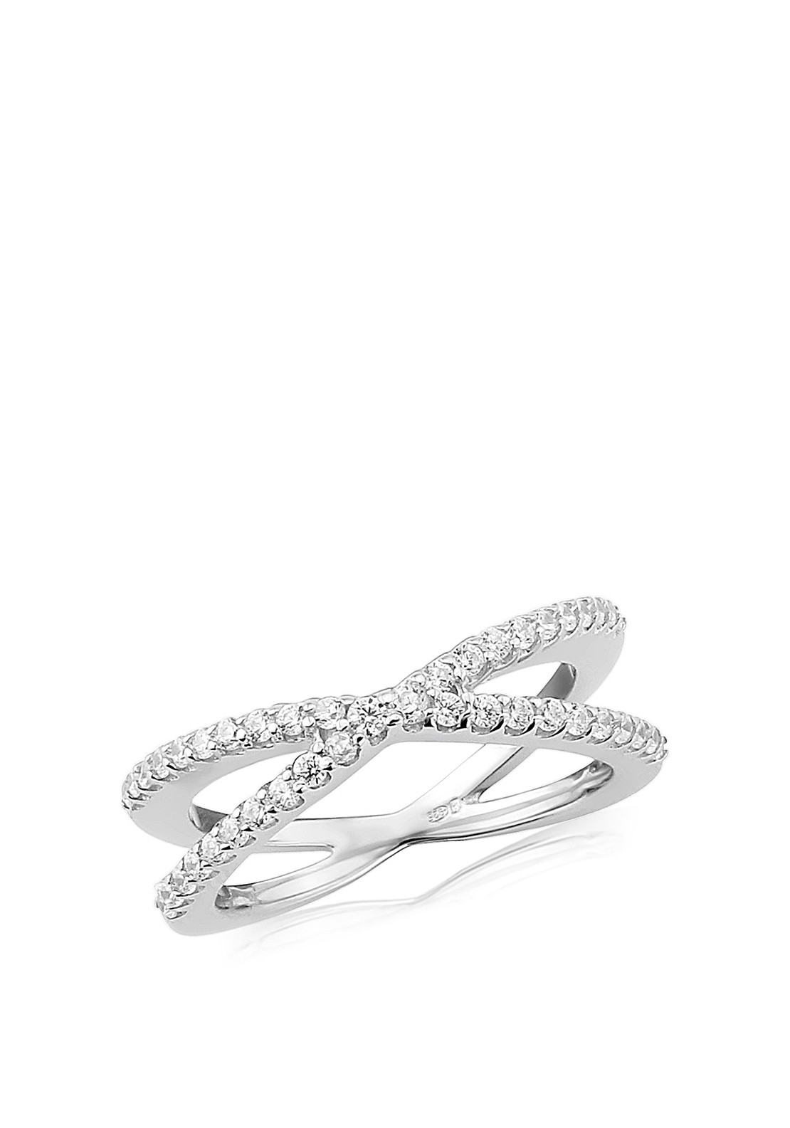 Waterford Crystal Criss Cross Pave Silver Ring, Small
