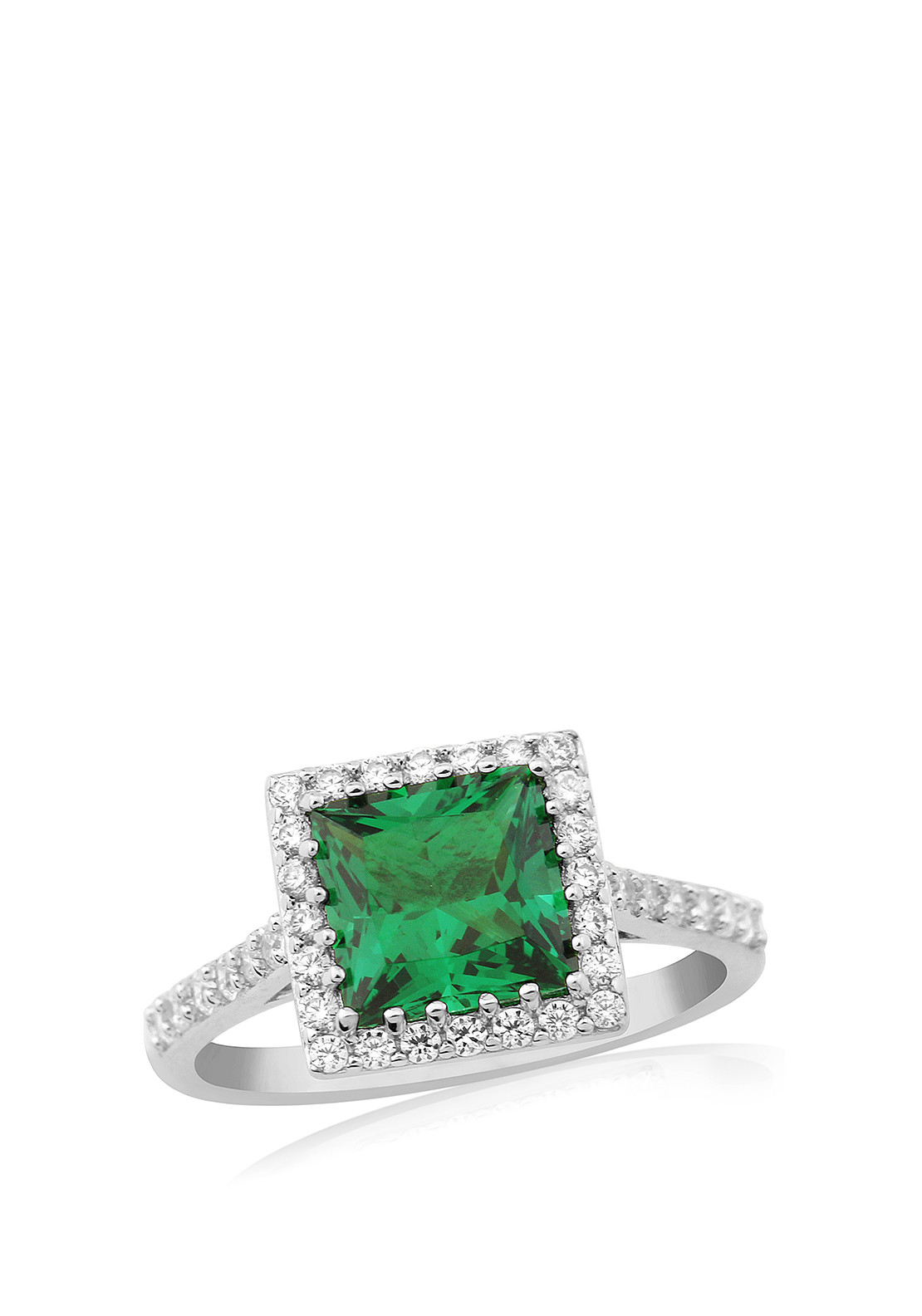 Waterford Crystal Faux Emerald and Pave Silver Ring, Large