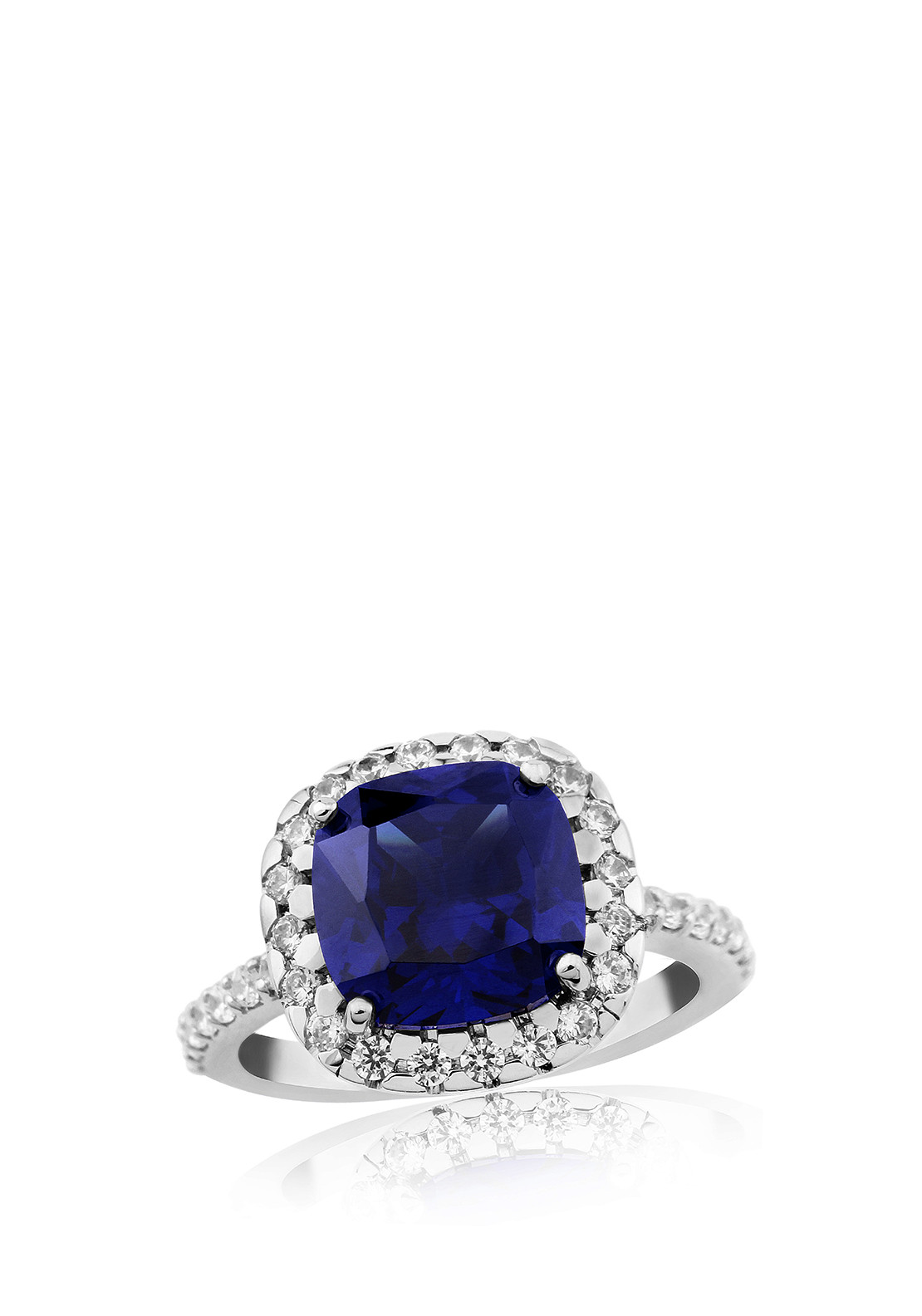 Waterford Crystal Faux Sapphire and Pave Ring, Silver