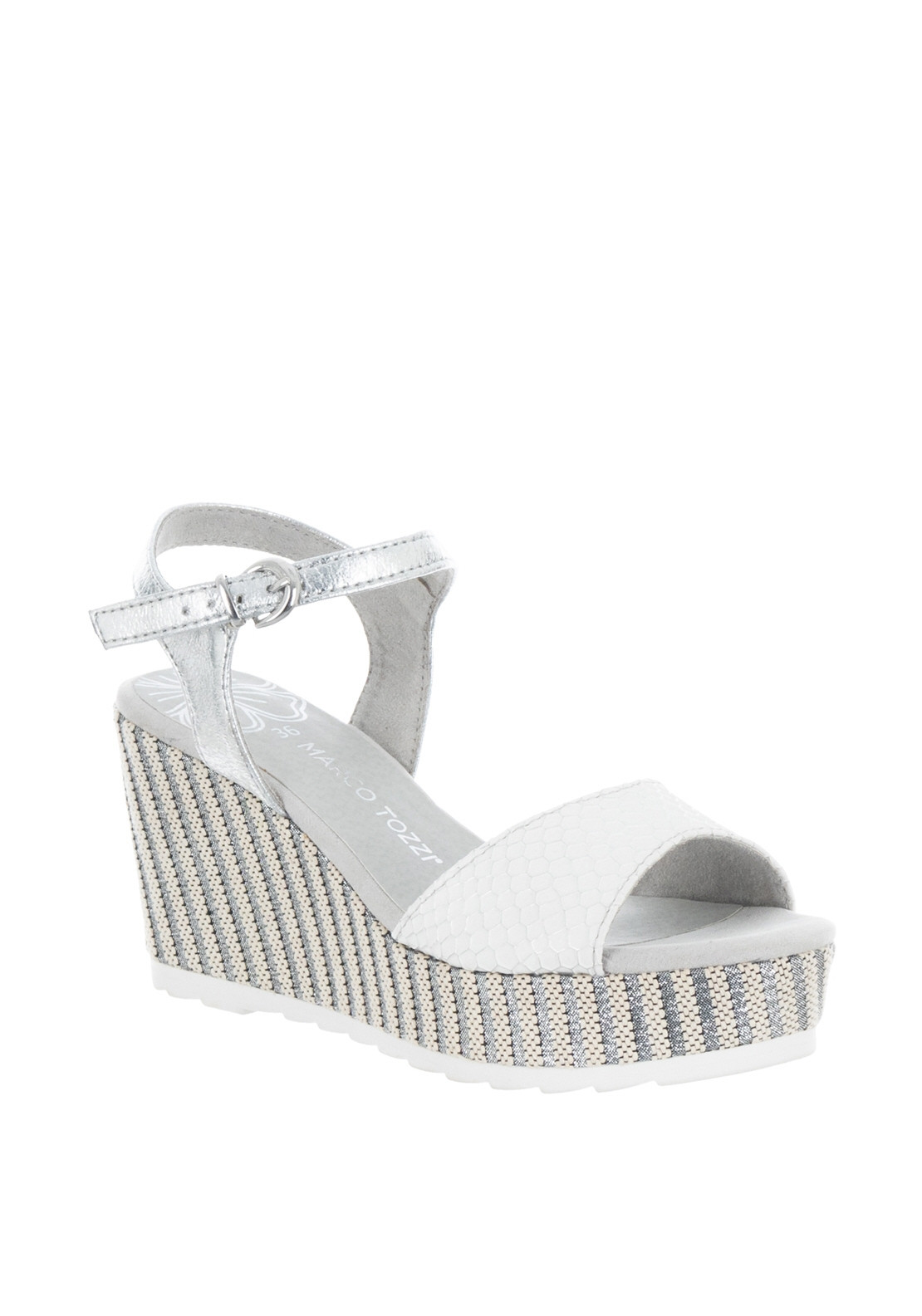 10f71dc5ff912 Marco Tozzi Reptile Woven Wedge Sandals, White | McElhinneys