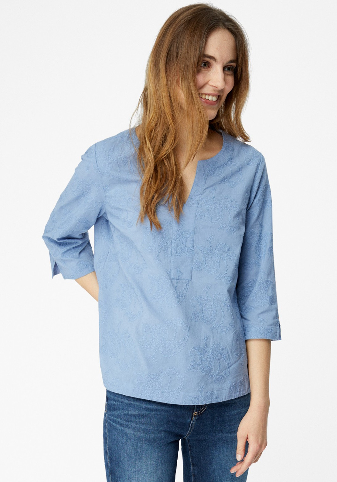 White Stuff Frankie Embroidered Tunic Top, Blue