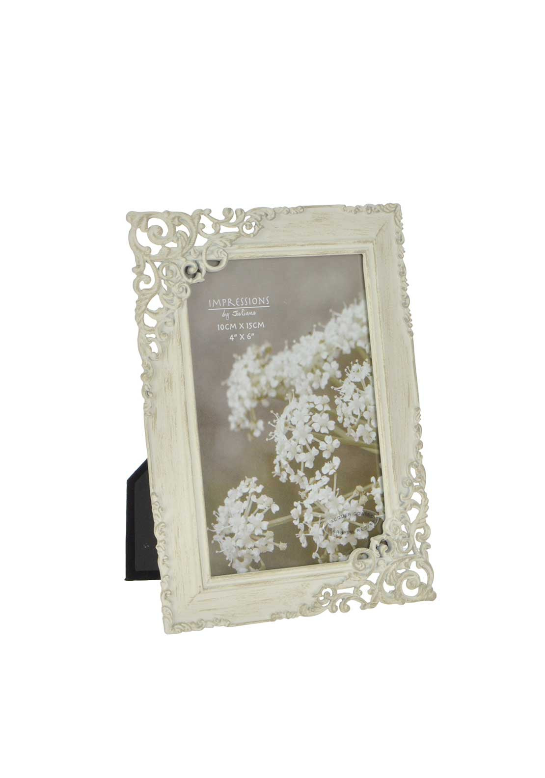 "Impressions by Juliana 4"" X 6"" Metal Photo Frame, Ivory Wedding"