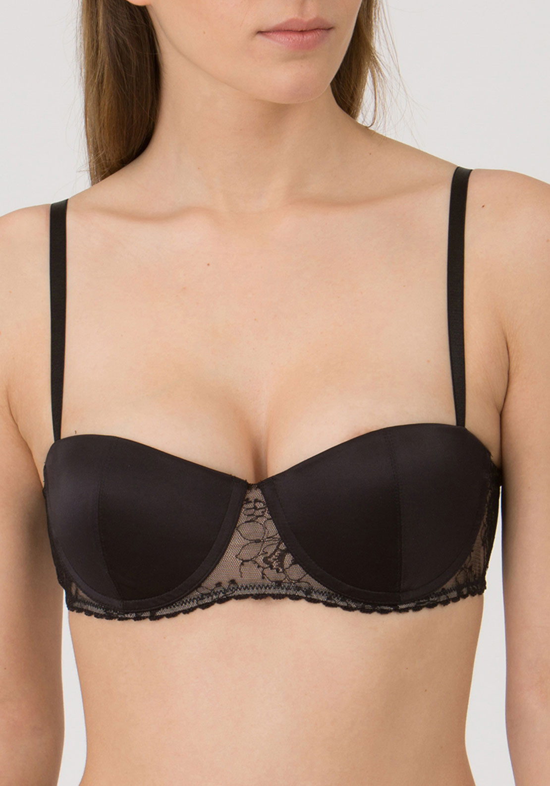 Wonderbra Luxe Balconette Push Up Bra, Black