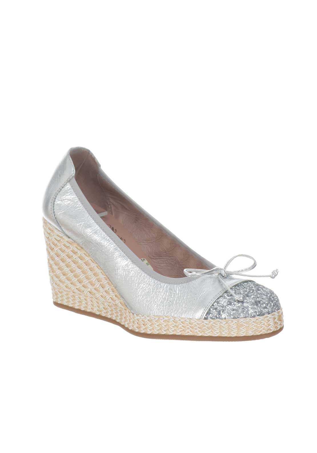 Wonders Leather Metallic Wedged Shoes, Silver