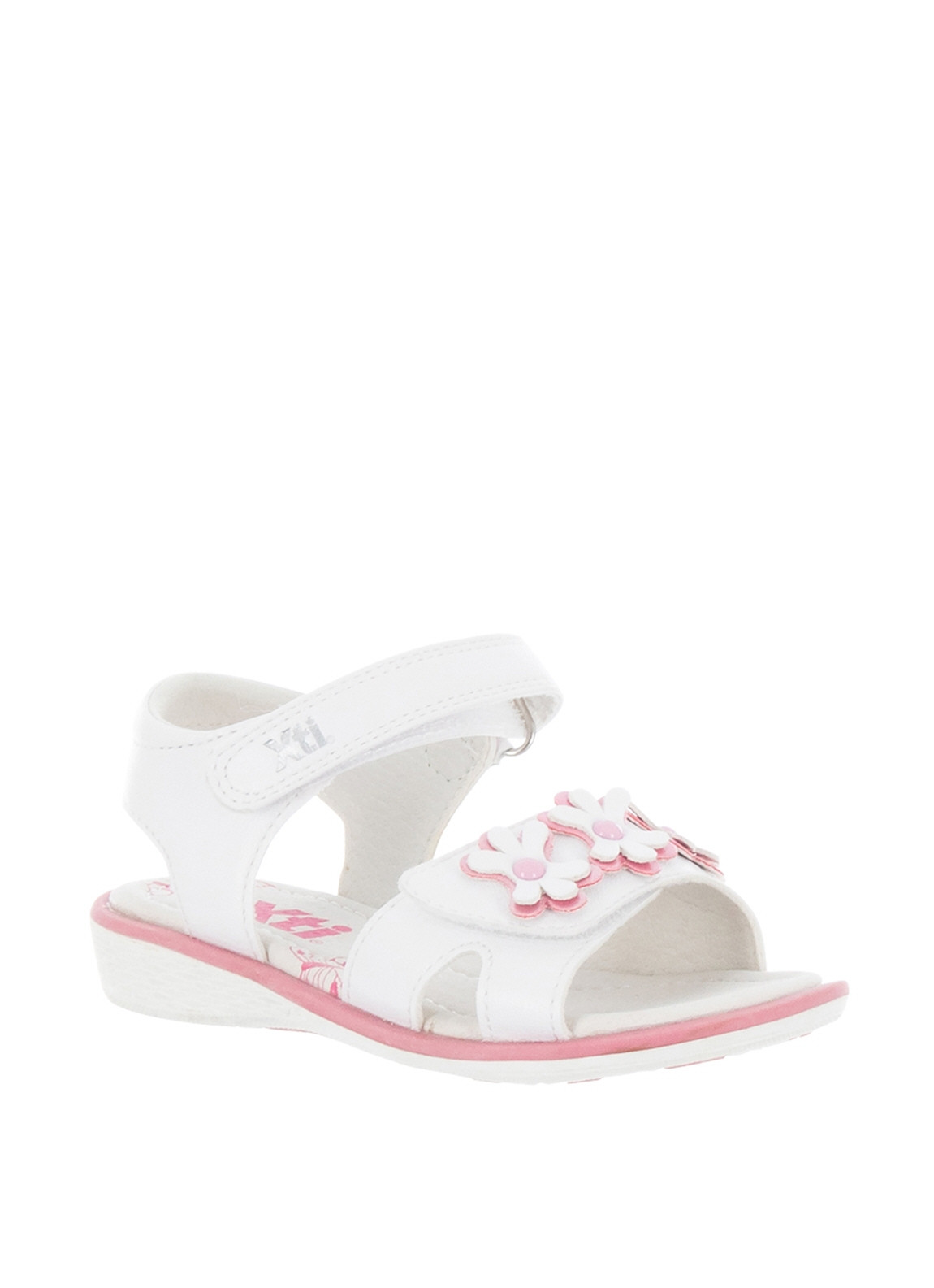 b17b0fbf XTI Girls Flower Velcro Strap Sandals, White | McElhinneys