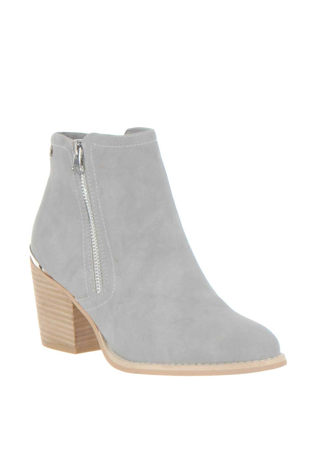 Xti Womens Zip Block Heel Ankle Boots, Grey