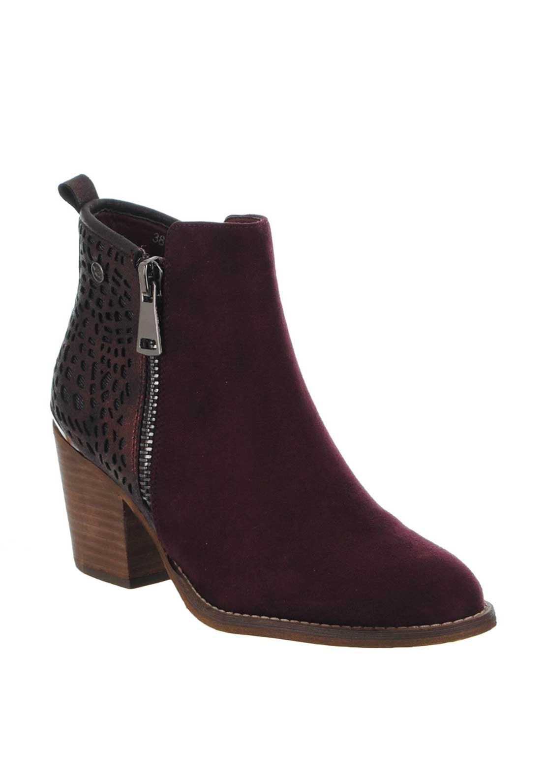 Xti Womens Laser Cut Block Heel Boots, Wine