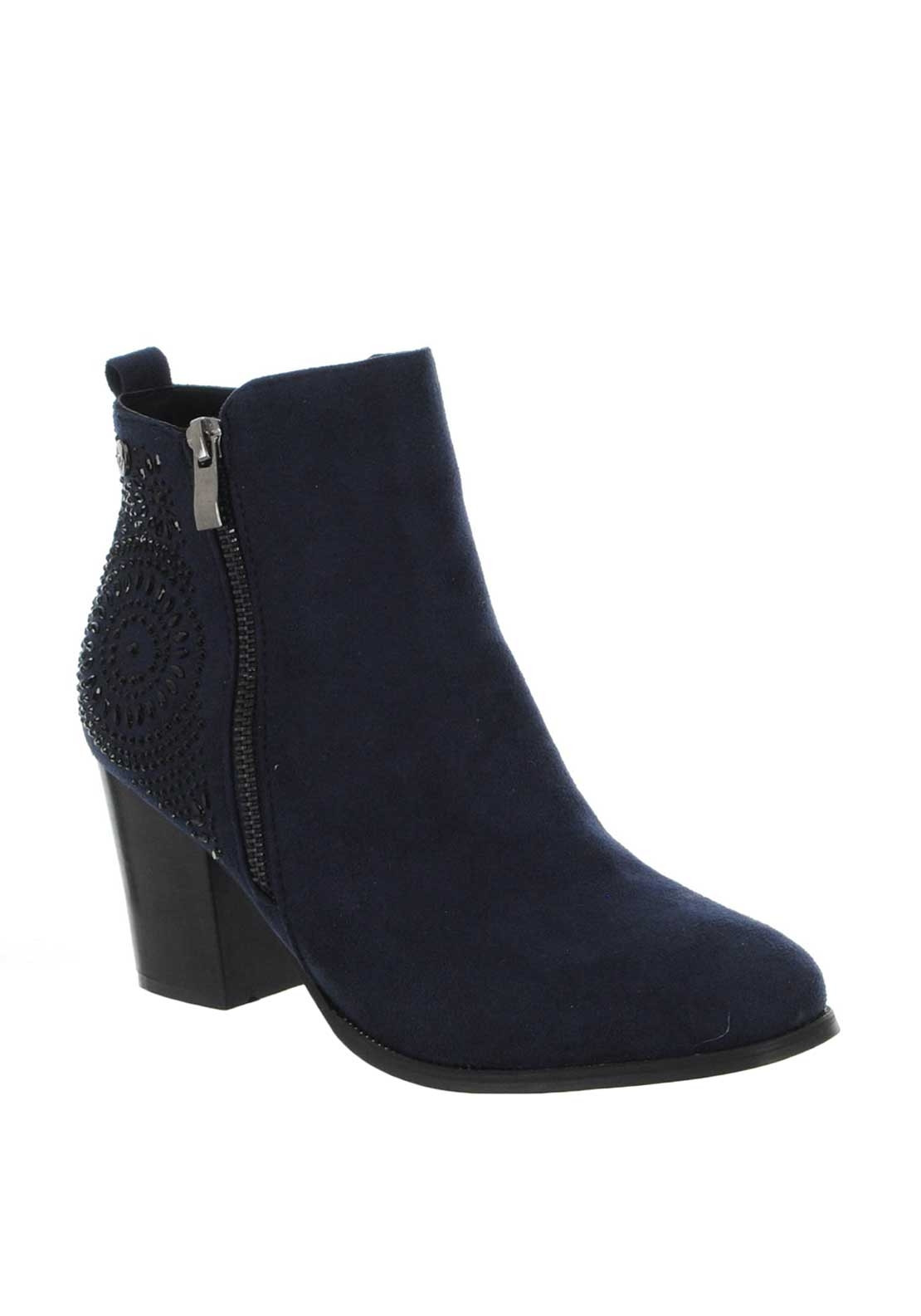 e1f376d918309 Xti Womens Gem Zip Block Heel Boots, Navy | McElhinneys