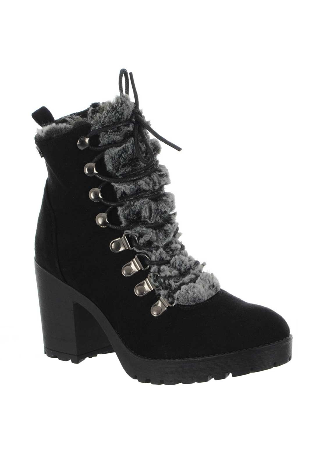 Xti Womens Faux Fur Trim Lace up Boots, Black