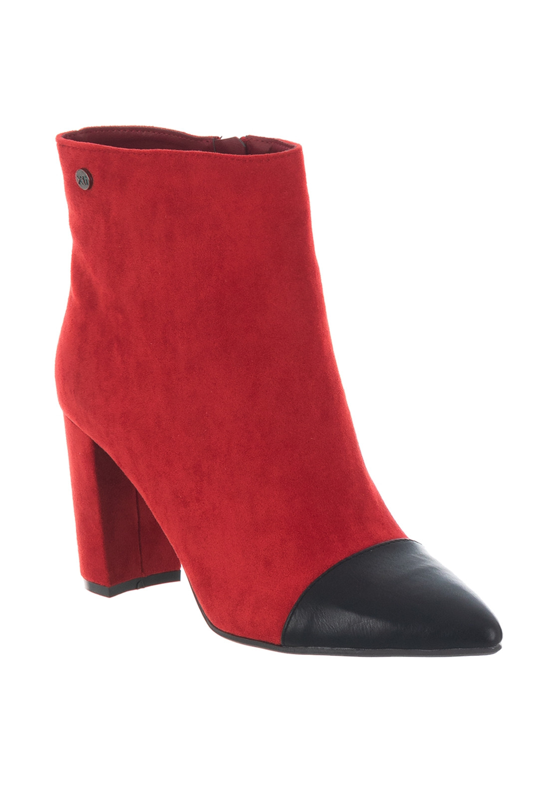 fba328e72c9 Xti Contrast Toe Faux Suede Ankle Boots, Red