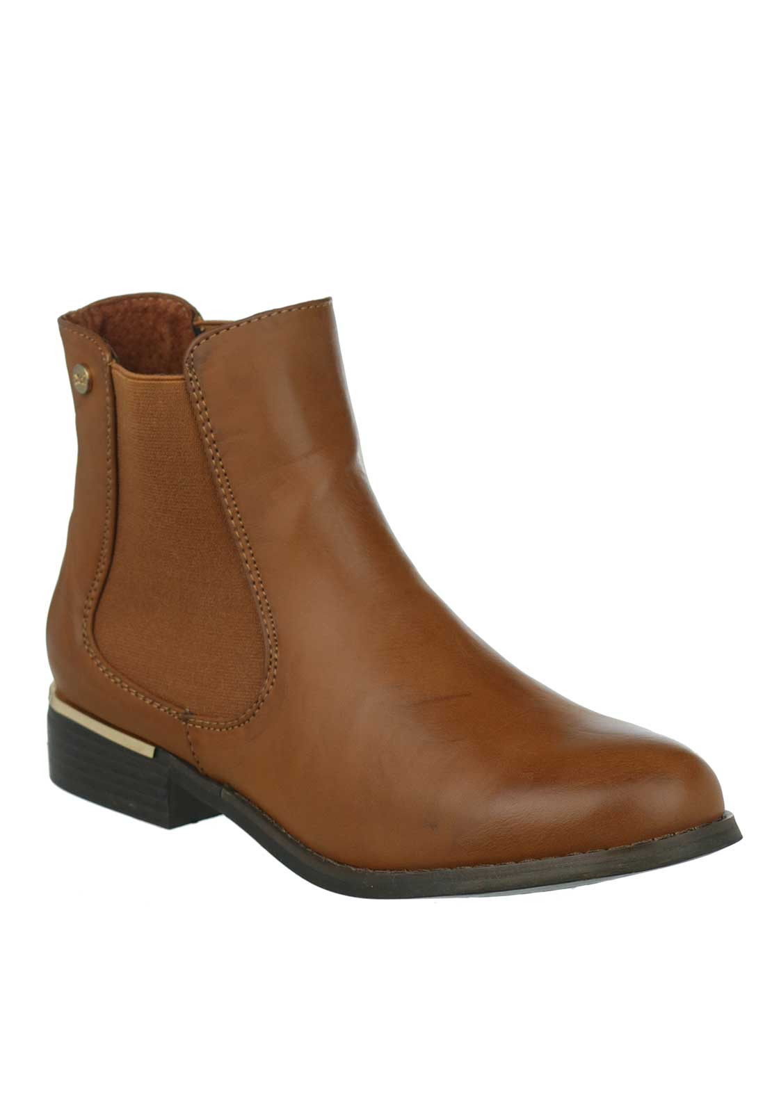 Xti Womens Gold Trim Chelsea Boots, Tan