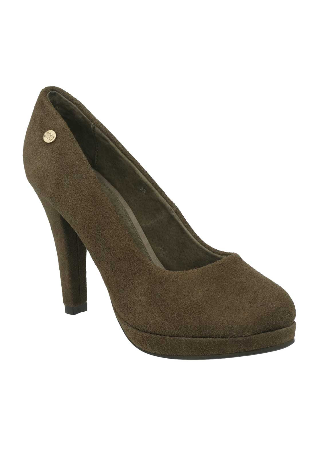 Xti Womens Suede Platform Heeled Court Shoes, Taupe