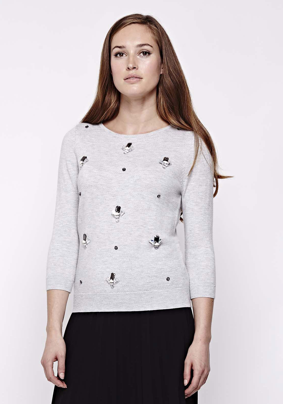 Yumi Embellished Wool Blend Jumper, Grey