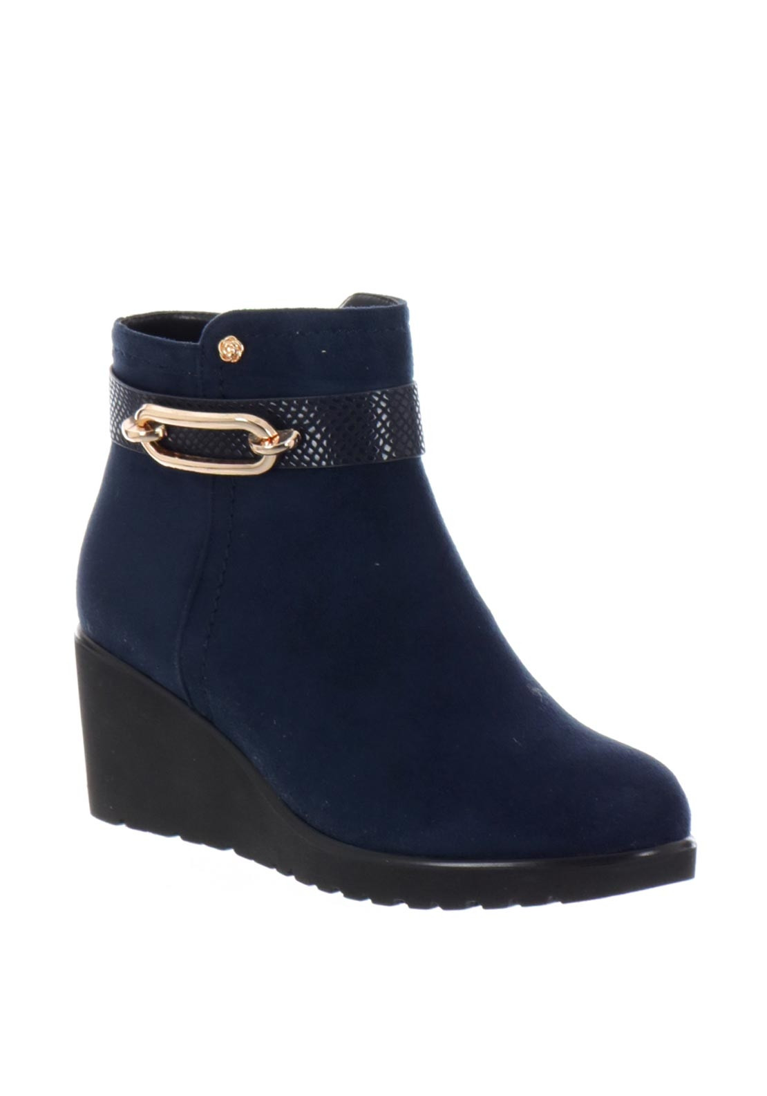 Zanni & Co. Copper Wedged Boots, Navy