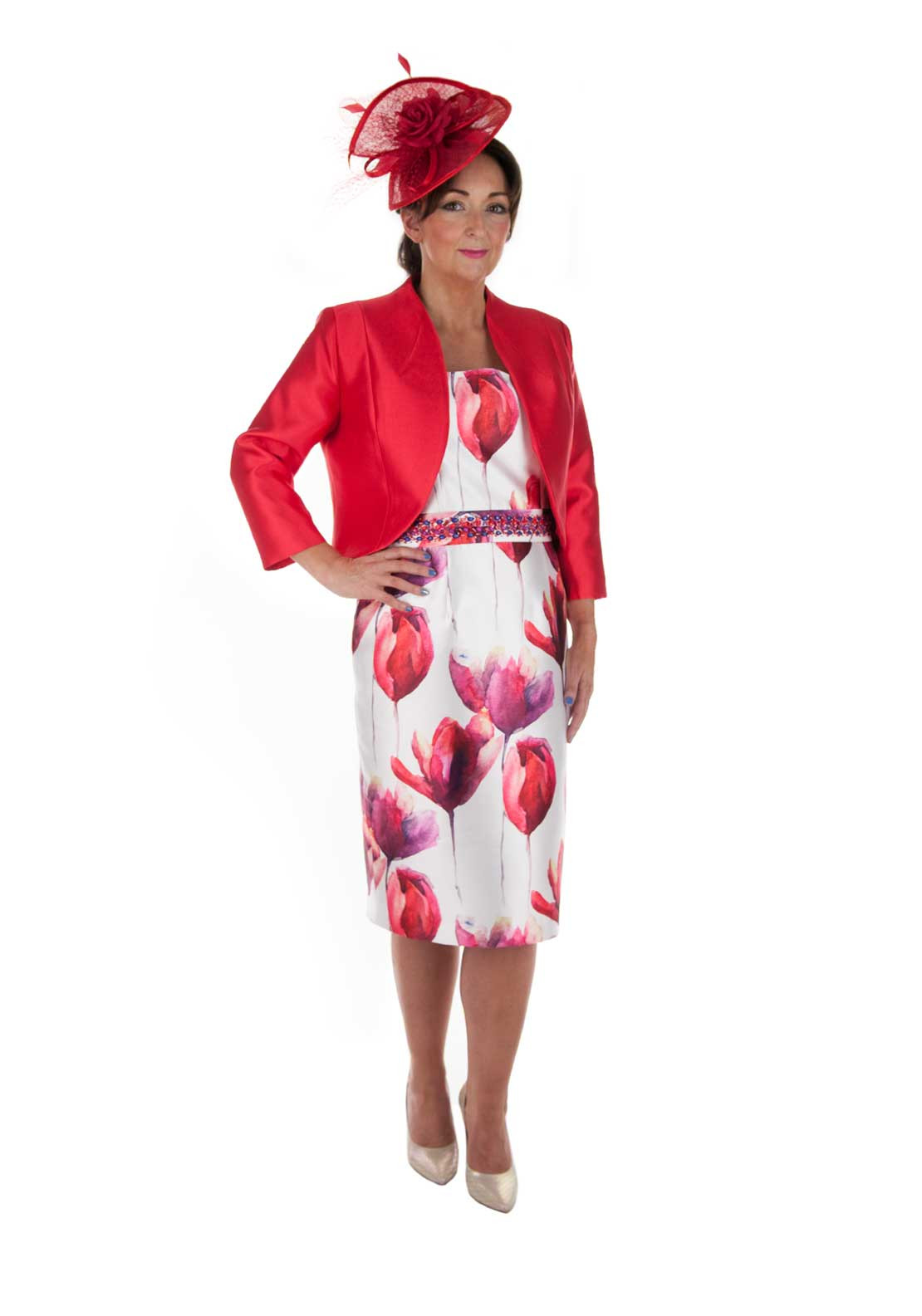 Zeila Floral Print Dress and Jacket, Red Multi