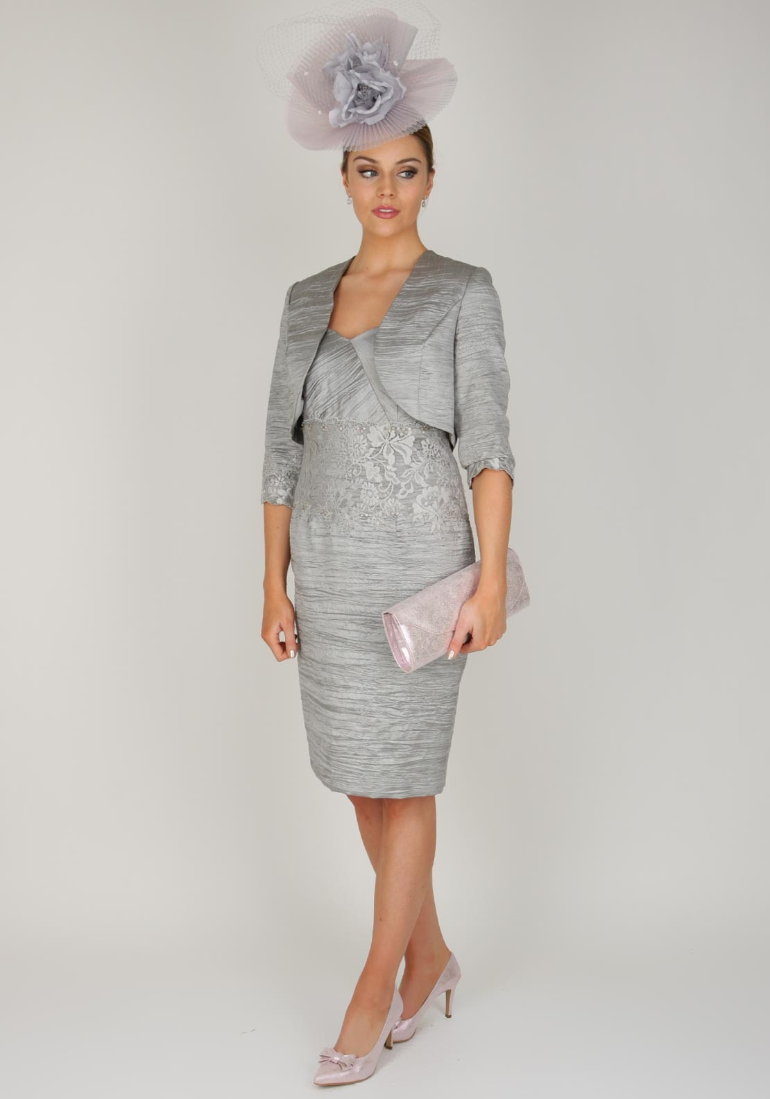 Zeila Special Occasion Crushed Effect Dress and Jacket, Metallic Grey