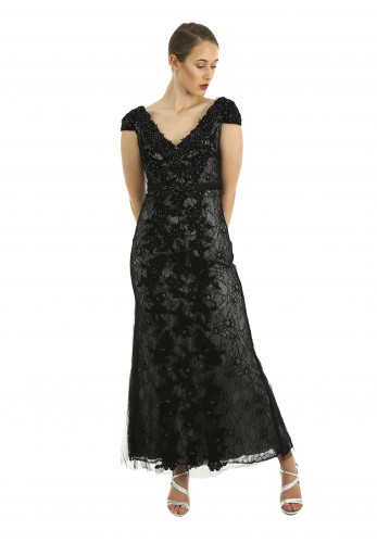 Linea Raffaelli Lace Embellished Full Length Dress, Black