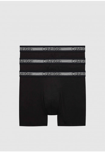 Calvin Klein 3 Pack Cooling Cotton Stretch Boxers, Black