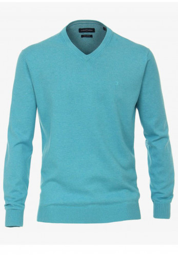Casa Moda Pima Cotton V-Neck Sweater, Turquoise Blue