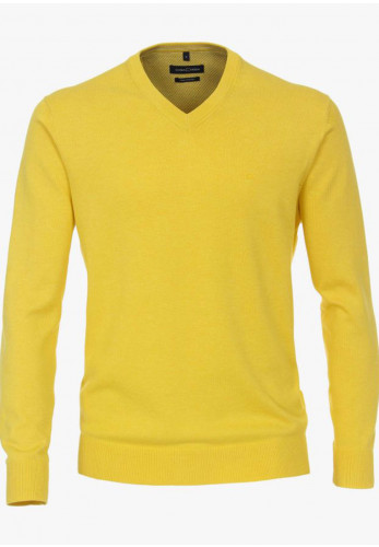 Casa Moda Pima Cotton V-Neck Sweater, Sharp Yellow